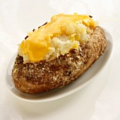 Baked Potato with Salt and Melted Cheese; On a White Plate on a White Background