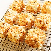 Homemade Marshmallows Covered with Toasted Coconut on a Cooling Rack