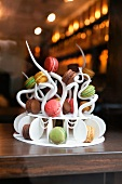 Macaroon Tree; Variety of Macaroons on a Display Dish