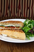 Mozzarella, Spinach and Tomato Panini with a Side Salad