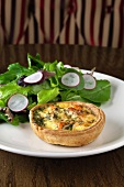 Individual Salmon, Mushroom and Dill Quiche with Side Salad