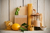 Assorted Pastas with a Variety of Ingredients on a Rustic Wooden Shelf