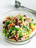 Quinoa Salad with Green Bean and Kidney Beans in a Bowl