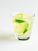Glass of Mint Lemonade; White Background