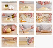 Pasta dough being made and rolled out