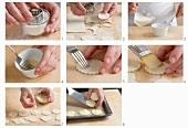 Making puff pastry cheese bites