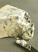 Wedge of Blue Cheese with Knife