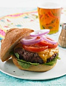 Cheeseburger with Lettuce, Tomato and Onion