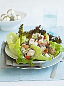 Chicken Salad with Apples and Walnuts Served on Lettuce Leaves
