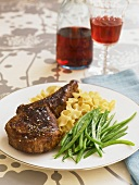 Roasted Veal Chop with Noodles and Green Beans