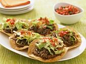 Platter of Beef Tostadas; Bowl of Salsa