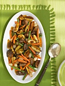 Beef, Potato, Green Bean and Carrot Roast on a Platter; From Above