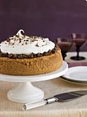 Whole Chocolate Swirl Cheesecake on a Cake Plate