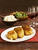 Chicken and Cheese Croquettes; Mashed Potatoes, Salad and Wine