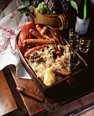 Alsatian choucroute garnie (sauerkraut with sausages and pork)