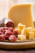 Cheese and salami, cubed and whole