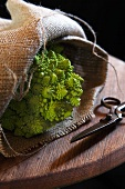 Romanesco cauliflower in jute bag