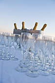 Empty wine glasses and ice bucket with bottles of sparkling wine