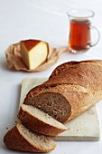 Wheat bread with smoked cheese and tea (Turkish)