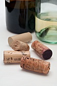 Various corks from bottles of red and white wine