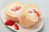 Strawberry and cream sponge roulade