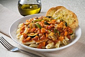 Penne with Vegetable Marinara Sauce and Two Pieces of Garlic Bread