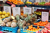 Various fruits in crates at market