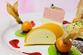 Mango mousse with physalis and kiwi