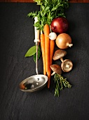 Ingredients for soup (vegetables, mushrooms and herbs)