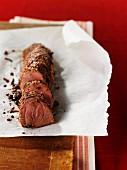 Spicy pork fillet in parchment paper