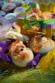 Chick-shaped Easter buns
