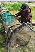 Fisherman with fish trap