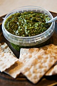 Pesto and crackers