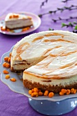 Cream cheese and sea buckthorn tart