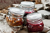 Cloudberry jam, red berry jam and blackcurrant jam