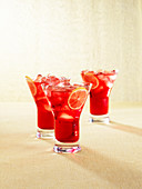 Pomegranate cru (drink with white wine & grenadine)