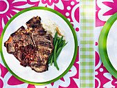T-bone steak with red onion sauce