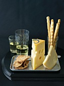 Fol Epi and Jalsberg Cheese with Crackers, Bread Sticks and White Wine