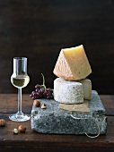 Gran Queso and Aged Goat Cheese Stacked; Sweet Dessert Wine