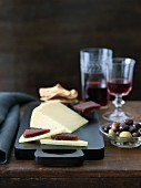 Hard Cheese with Quince Paste; Olives, Wine and Crackers