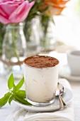 Tiramisù in bicchiere (layered dessert with mascarpone cream)