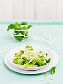 Thin tagliatelle with green vegetables and herbs