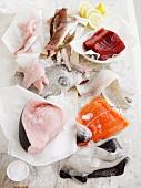Various fish fillets