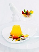Mango and orange jelly with fruit salad