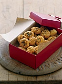 Chili and cheese biscuits in a gift box