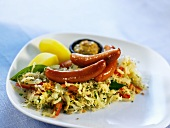 Sausages with cabbage salad, mustard and potatoes