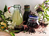 Elderflower and elderberry syrup, juice and jelly