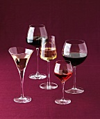 Various wine glasses and sherry