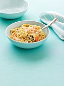 Ribbon pasta with prawns