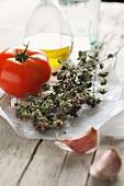 Dried oregano, tomato, garlic and olive oil